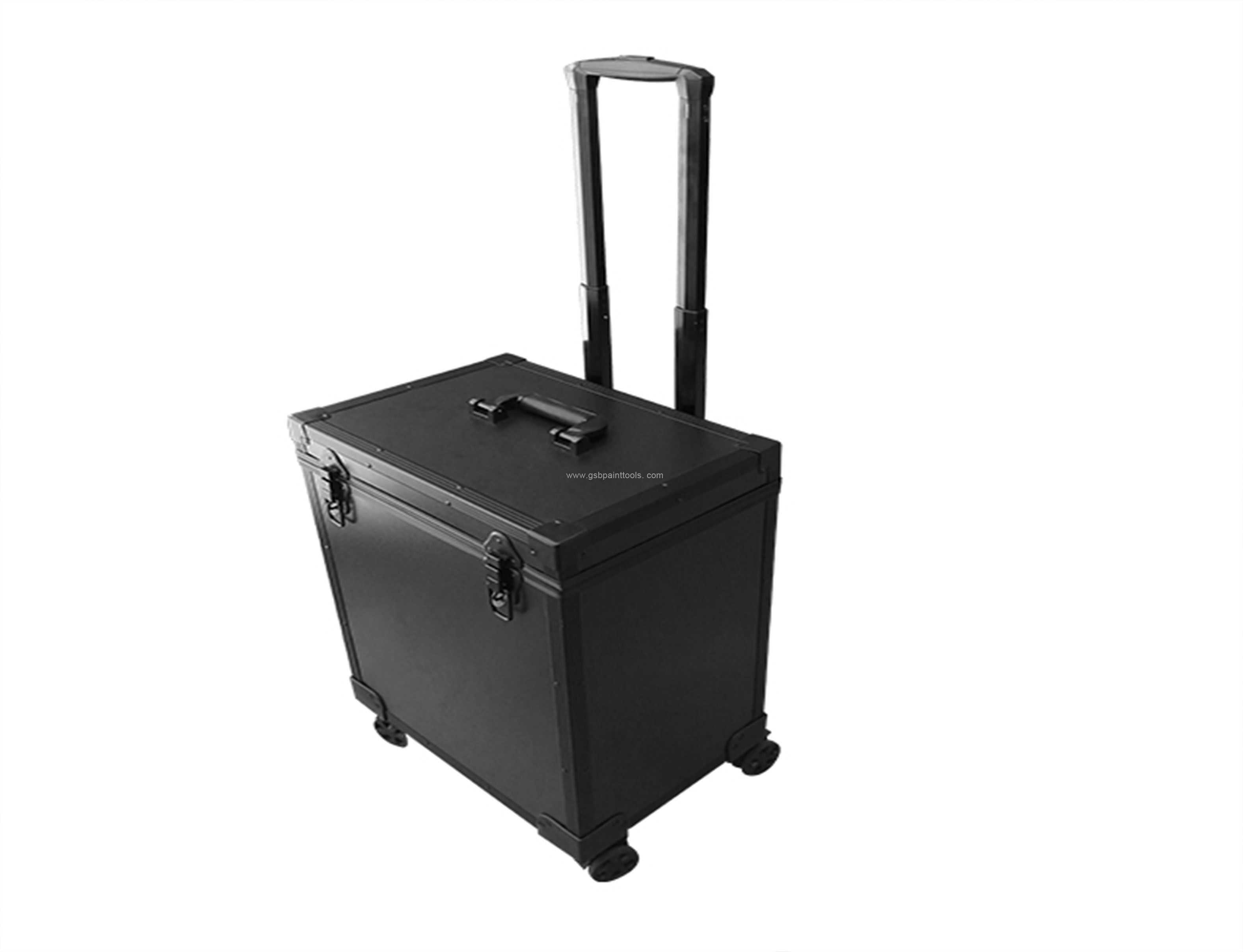 Black Aluminum toolbox case with wheel for paint worker